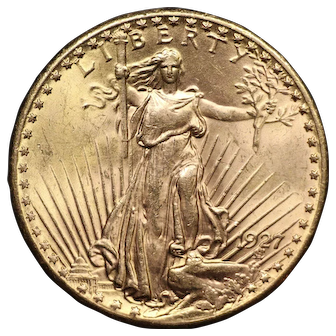 1927 U.S. Gold Double Eagle Coin, Saint-Gaudens Design, Mint State Condition