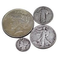 Old U.S. Silver Dollar and Type Coin Set - Peace Dollar, Walking Liberty Half Dollar, Standing Liberty Quarter, Mercury Dime