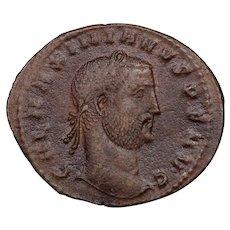 c. 305 A.D. Ancient Roman Bronze Follis Coin, Emperor Galerius