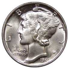 1941 U.S. Mercury Dime, Mint State Condition, Philadelphia Mint