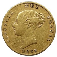 1853 Great Britain Half Sovereign Gold Coin, Queen Victoria, Very Fine Condition