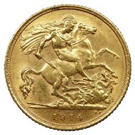 1914 Australia Half Sovereign Gold Coin, King George V, About Uncirculated Condition