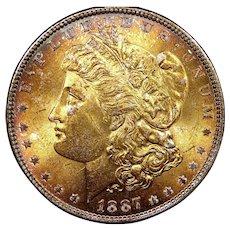 1887 U.S. Morgan Silver Dollar Coin, Mint State Condition, Philadelphia Mint