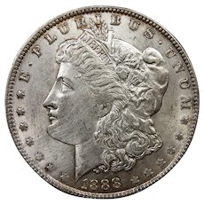 1888 U.S. Morgan Silver Dollar Coin, About Uncirculated Condition, Philadelphia Mint