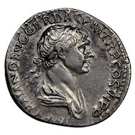 112 A.D. Emperor Trajan Ancient Roman Empire Silver Denarius Coin