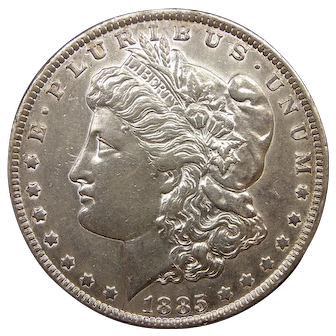 1885 U.S. Morgan Silver Dollar Coin, About Uncirculated Condition, New Orleans Mint