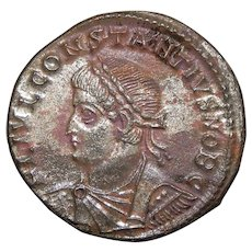 330 A.D. Ancient Roman Coin, Emperor Constantius II, Silvered Bronze Follis