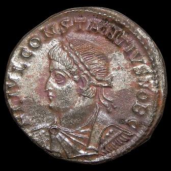 330 A.D. Ancient Roman Coin, Emperor Constantius II, Silvered Bronze Follis