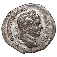 212 A.D. Ancient Roman Coin, Emperor Caracalla, Silver Denarius