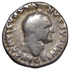 73 A.D. Roman Coin, Ancient Silver Denarius, Emperor Vespasian, Roman Empire