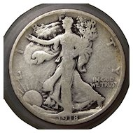 1918 U.S. Silver Half Dollar Coin, Walking Liberty Design, Good Condition