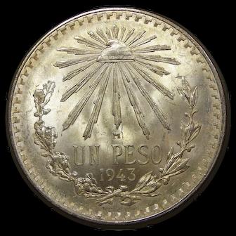 1943 Mexico Silver 1 Peso Coin, Mint State Condition