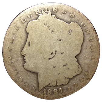 1887 U.S. Morgan Silver Dollar Coin, About Good Condition, New Orleans Mint