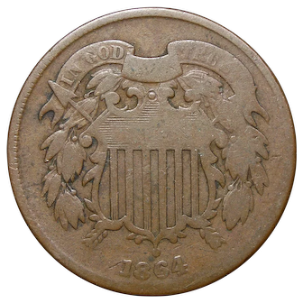 1864 U.S. Two Cents Bronze Coin, Fine Condition