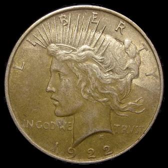 1922 U.S. Peace Silver Dollar Coin, Very Fine Condition