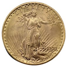 1908 U.S. Gold Double Eagle Coin, Saint-Gaudens Design, About Uncirculated Condition