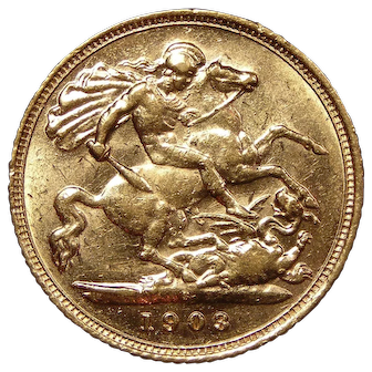 1903 Australia Half Sovereign Gold Coin, King Edward VII, About Uncirculated Condition