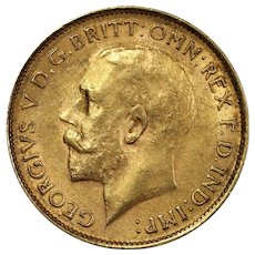 1926 South Africa Half Sovereign Gold Coin, King George V, About Uncirculated Condition