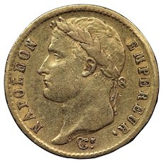 1813 France Gold 20 Francs Coin, Emperor Napoleon Bonaparte