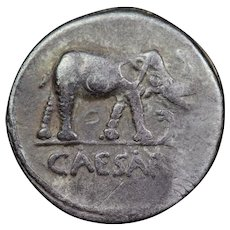 49 B.C. Julius Caesar Ancient Roman Republic Silver Denarius Coin, Elephant Design