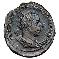 252 A.D. Ancient Roman Coin, Emperor Trebonianus Gallus, Silver Antoninianus Coin