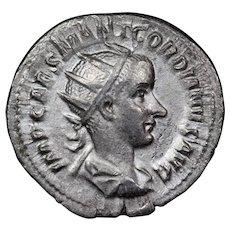 240 A.D. Ancient Roman Silver Antoninianus Coin, Emperor Gordian III