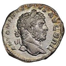 200 A.D. Ancient Roman Silver Denarius Coin, Emperor Caracalla