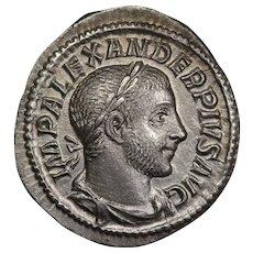 232 A.D. Emperor Severus Alexander Ancient Roman Empire Silver Denarius Coin