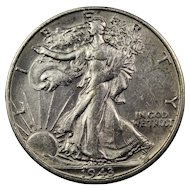 1943-S U.S. Silver Half Dollar Coin, Walking Liberty Design, About Uncirculated Condition, San Francisco Mint