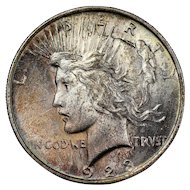 1923 U.S. Peace Silver Dollar Coin, Mint State Condition, Philadelphia Mint, Rainbow Toning