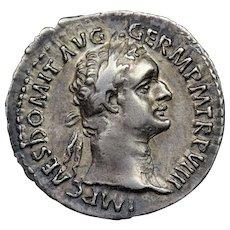 83 A.D. Ancient Roman Silver Denarius Coin, Emperor Domitian (r. 81-96 A.D.)