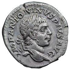 221 A.D. Ancient Roman Silver Denarius Coin, Emperor Elagabalus (r. 218-222 A.D.)