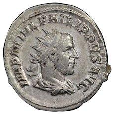 247 A.D. Ancient Roman Silver Antoninianus Coin, Emperor Philip I (r. 244-249 A.D.)