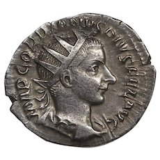 240 A.D. Emperor Gordian III Ancient Roman Empire Silver Denarius Coin