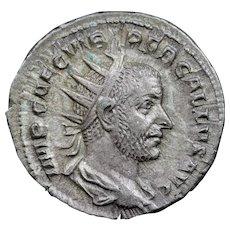 250 A.D. Ancient Roman Silver Antoninianus Coin, Emperor Trebonianus Gallus (r. 251-253 A.D.)