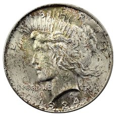 1924 U.S. Peace Silver Dollar Coin, Mint State Condition, Philadelphia Mint, Rainbow Toned