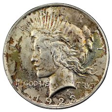 1923 U.S. Peace Silver Dollar Coin, Mint State Condition, Philadelphia Mint, Rainbow Toned