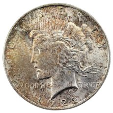 1922 U.S. Peace Silver Dollar Coin, Mint State Condition, Philadelphia Mint, Multicolored Toning