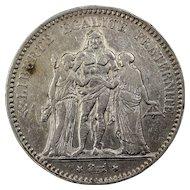 1875 France 5 Francs Silver Coin, 2nd French Republic, Paris Mint
