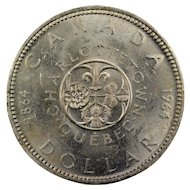 1964 Canada Silver 1 Dollar Coin, About Uncirculated Condition