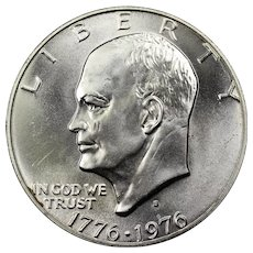 1976 U.S. Eisenhower Dollar 40% Silver Bicentennial Coin, Mint State Condition, San Francisco Mint