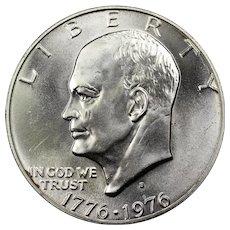 1976 U.S. Eisenhower Dollar 40% Silver Bicentennial Coin, Mint State Condition, San Francisco Mint