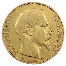 1856 France Gold 20 Francs Coin, Emperor Napoleon III, Extremely Fine Condition