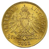 1892 Austria Gold 8 Florin / 20 Francs Coin, Mint State Condition