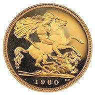 1980 United Kingdom Half Sovereign Gold Coin, Queen Elizabeth II