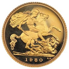 1980 United Kingdom Half Sovereign Gold Coin, Queen Elizabeth II