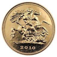2010 United Kingdom Half Sovereign Gold Coin, Queen Elizabeth II