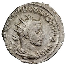 251 A.D. Ancient Roman Silver Antoninianus Coin, Emperor Volusian