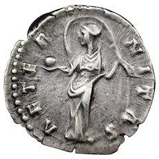 141 A.D. Ancient Roman Silver Denarius Coin, Diva Faustina Memorial
