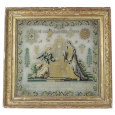 Antique French Religious Needlework / Sampler 1839